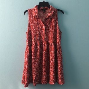 Red floral collared dress